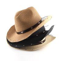 Geniş Ağız Şapkalar Erkekler Kadınlar Batı Kovboy Hasır Güneş Şapka Kemer Deri Yıldızı ile Fedora Panama Bayanlar Cap Caz Yaz Trilby