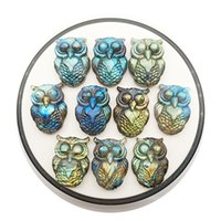 Labradorite hand-carved owl necklace pendant DIY gemstone jewelry unisex accessories gifts for couples crystal animal totem guardian Loose beads no holes