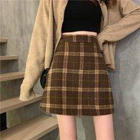 Skirts Plaid Women Autumn And Winter High Waist Retro Woolen A- Line Skirt Woman Faldas Jupe