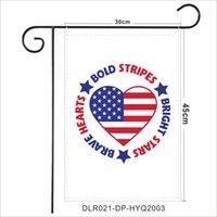 USA Indépendance Day Ponsee Jardin Drapeau 30 * 45cm Happy 4 juillet Jardin d'extérieur Suspending Drapeau De Gnomes Design Garden Banner GGA4318