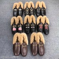 Mules Hommes Chaussures plates Casual Samedi Samedi Authentique Cowhide Designer Chaudenne de laine Véritable Princetown Femmes et cuir paresseux bu xqqax