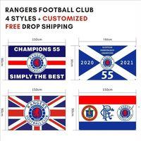 Kostenloser DHL-Versand Kundengebundene Flagge 90x150cm Rangers Football Club FC Loyal Champions 55 Flaggen Banner für Outdoor Sport OWB5724