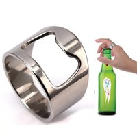 Stainless Steel Beer Bar Tool Finger Ring Bottle Opener Beer Bottle Favors Kitchen Bar Tools Accessories Sea Shipping WWA300