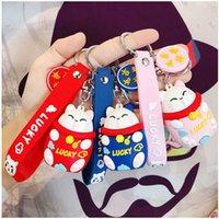 Keychain Fashion Creative Luy Cat Cute Cartoon Kitten Kitten Key CHA con cordino per le donne borsa pendente auto portachiavi per bambini giocattolo regali