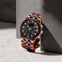Relógios de pulso relógios relógio de madeira madeira quartzo de quartzo de bambu homens luxo masculino dial multi-função data cronógrafo
