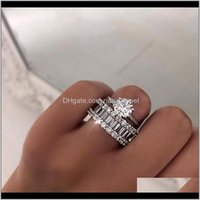 Unique 2Pcs Couple Rings Classical Jewelry Six Claw Real 925 Sterling Silver White Topaz Stack Cz Diamond Women Wedding Bridal Ring Uv Vujmd