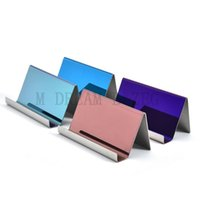 4 Colors Stainless Steel Business Card Holder Name Cards Display Stand Rack Desktop Table Decor