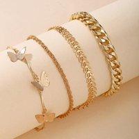 Charm Bracelets 4 PCS Set Female Wear Of Butterfly Pendant Multi-layer Bracelet Set Adjustable Rope Chain Anklet Women Girl Jewelry