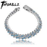 MM Two-Tone Prong Link Bracelet In Blue White Gold Micro Pave Iced Out Cubic Zirconia Hip Hop Personalized Jewelry Link, Chain