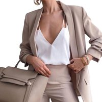 Женские костюмы Blazers Conityd Женщины Slim Blazer Пальто Кардиган Куртки Зарезанные Длинные Рукава Повседневная 2021 Летний Осенний Сплошной карман Plus