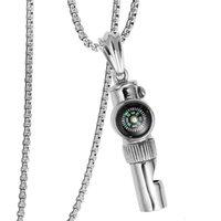 Neue Herren Hip Hop Anhänger Zubehör Titan Stahl Persönlichkeit Mode Kreative Pfeife Kompass Anhänger Halskette