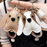 Carino borsa nappa fatta a mano in pelle PU cucciolo di cuoio bambola da portachiavi portachiavi per animali a fascino ciondolo di fascino accessori gioielli di moda keychains