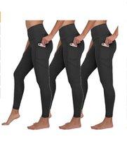 Сплошные цвета женские йоги брюки с карманами Высокая талия спортивный тренажерный зал носить леггинсы упругие фитнес леди общая полная тренировка колготок