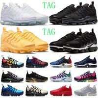 air vapormax tn plus running shoes mens trainers Triple Black White Psychic Pink Dark Stucco Cool Grey Bred outdoor sports sneakers size 36-47