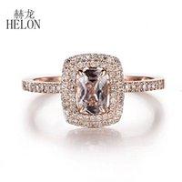Cluster Rings HELON Solid 14K Rose Gold Cushion 6X4mm Natural Morganite & Diamonds Engagement Wedding Ring Women Gemstone Fine Jewelry Gift