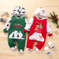 kids Rompers girls boys Christmas tree deer Romper infant toddler Hooded Jumpsuits Spring Autumn Fashion baby Xmas Climbing clothes Z4315