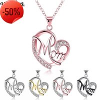 Vecalon Mom Heart Shape Pendants with necklace for Women Mother's Day Gift Wholesale Jewelry 5 colors Silver Black Rose Gold