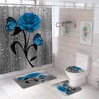 Blaue Blume Schmetterling Badezimmer Rutschfeste Matte Set Durable Wasserdichte Dusche Vorhang Sockel Teppich Decke Deckel WC-Abdeckung Bad Matte Teppiche 210712