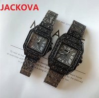 Men Fashion Women Shinning Square Designer Quartz Watches Full Stainless Steel Diamonds Ring Iced Watch All Dial Work Chronograph Clock