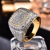 Obrączki ślubne Wspaniały męski biały cyrkon pierścionek zaręczynowy 14kt żółty złoty duży kamień dla mężczyzn vintage