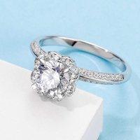 Кластерные кольца Mlunly Moissanite кольцо 1CT D Цветовые цветы Изящные украшения для женщин Свадьба Годовщина Питание Настоящее Стерлинговое серебро 925