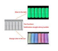 İki fonksiyon karanlıkta parlayan UV renk değişen tumbler 20 oz süblimasyon bardak güneş ışığı algılama paslanmaz çelik düz sıska tumbler payet