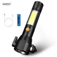 1 * T6 + 1 * COB LED USB recargable Linterna portátil Camping Luz de la luz Lámpara de emergencia con ventanas Breaker Linternas Antorchas