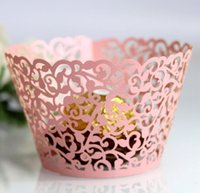 Backing Cup Laser Cut Cupcake Wrappers Cake Decor Wedding Party Decoration Shower Wrap Birthday Favors Ice Cream Wraps Vine Cases EEB4507