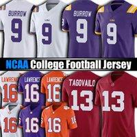 NCAA LSU Tiger 9 Joe Burrow Jersey College Football 13 TUA THAYVAILO Alabama Crimson Tide Jerseys 16 Trevor Lawrence 9 Travis Etienne JR Saquon Barkley Tom Brady
