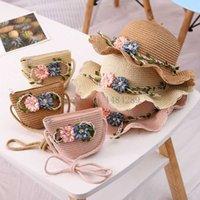 2021 Child Summer Straw Hat 2-6y Female Baby Girls Matching Bag Korean Sun Shade Flower Pot Beach