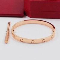 Homens Mulheres 316L Aço Inoxidável Levantou o Parafuso De Gold Bangle Bracelet com chave de fenda e conjunto de caixa