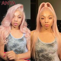 Perruques en dentelle Anya 13x4 Gorgeous Pink Transparent Corps Wavestaight Front Cheveux Humains Malaisie Vierge pour femmes noires