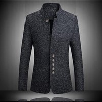 Men's Suits & Blazers Laamei Mens Suit Jackets Solid Quality Casual Men Long Sleeve Stand Collar Button Brand