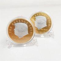 2024 미국 선거 트럼프 기념 동전 금 도금 실버 도금 더블 컬러 럭키 동전 철 공예품