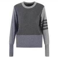 715 2021 Milan Style Spring Summer Brand Same Style Sweater Print Regular Long Sleeve Gray Blue Crew New Pullover Women Clothes YL