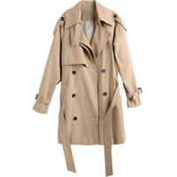 Vintage Chic Khaki Trench Coat Female High Quality Simplicit...