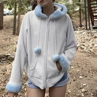 Women's Jackets Cute Warm Fur Trim Hooded For Women 2021 Autumn Winter Fashion Kawaii Clothes Zip Up Hoodies Coat Sweatshirt Femme