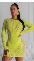 Winter sexy female-style floral sequins mesh yellow famale fashion bandage rayon elastic party dress
