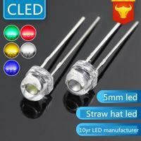 Lâmpadas Light Light Decay 5mm chapéu de palha LEDs lâmpada LED Lightin Diodo Branco Quente / Vermelho / Verde / Azul / Amarelo / Branco / Lâmpada-de-rosa