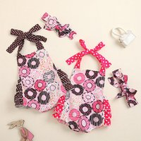 kids Rompers girls Donut print romper newborn infant Hanging neck Jumpsuits+Bow Headband Summer fashion baby Climbing clothing Z3837