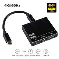 3-in-1 Thunderbolt 3 Type C To USB C USB 3.0 Hub Multiport Adapter HDMI 2.0 4K 60HZ USB 100W PD ميناء شحن لماك بوك برو