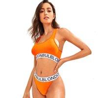 Neue sexy Bikini in Europa und Amerika Stretch Sportmädchen Casual Neon Lights Orange Schriftzug Atmungsaktive Komfortable Kollegierte Unterwäsche