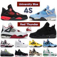 Mais novo 4 4S Basquetebol Sapatos Universidade Azul Vermelho Trovão Paris Metálico Roxo Cat Preto Criado Cacto Jack Neon Homens Mulheres Sneakers