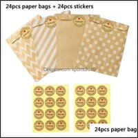 Gift Event Festive Party Supplies Home & Gardengift Wrap 24 Stickers+24 Pcs Kraft Paper Bags Treat Candy One Time Bag F1 Drop Delivery 2021