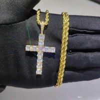 Brillante diamante pietra croce pendenti collana gioielli platinum placcato uomo donne amante regalo coppia gioielli religiosi