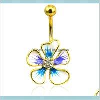 Bell Fashion Gold Plated Belly из нержавеющей стали штанги синий эмаль горный хрусталь цветок пирсинг Trzvf