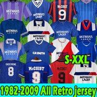 Glasgow Rangers Retro Soccer Jerseys Gascoigne 1982 1984 82 83 84 86 87 90 92 93 94 95 96 97 99 2001 02 03 McCoist Albertz Classic Vintage Jersey Shirt Football Hommes