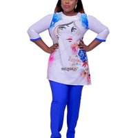 Ethnic Clothing 2 Two Piece Set Women Outfits African Clothes 2021 Dashiki Fashion Africa Suit Top Pants Party Plus Size Suits For Lady