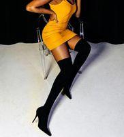 Eillken 2021 мода стягивает ткань носок носок заостренный носок на колене пятки бедра высокие заостренные носки женщина ботинок размером 35-42aw3q331