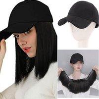 Synthetic Wigs SHANGKE Human Hair Bob Wig Baseball Cap For Women Short Straight Naturally Connect Adjustable